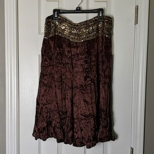 Brown sequined skirt by Cache